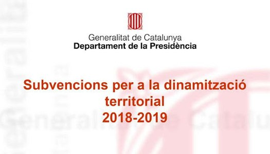 SUBVENCIÓ DE DINAMITZACIÓ TERRITORIAL 2018/2019